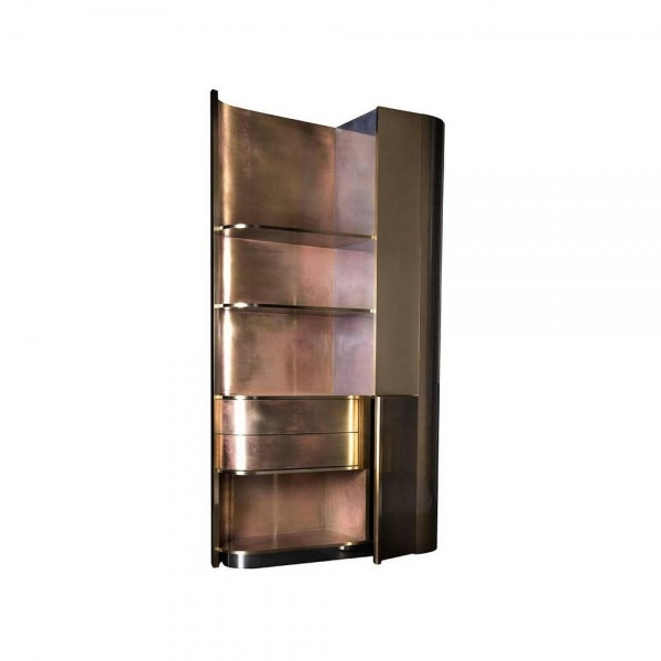 Барный шкаф Tall Brass Cabinet with an Art Deco Spirit and Functional Design