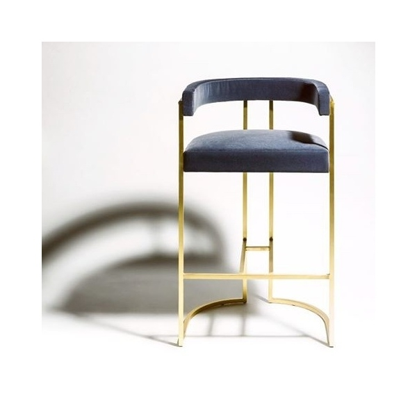 Кресло барное JULIUS BARSTOOL - BRUSHED BRASS AND VELVET