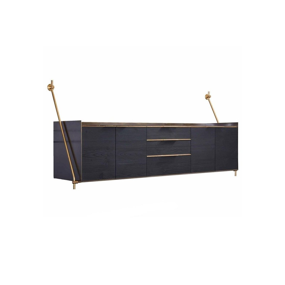 Буфет Wall-Mounted Credenza in Bronze and Burnt Pine from Amuneal's