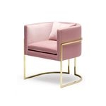 Кресло JULIUS CHAIR - BRUSHED BRASS AND PINK VELVET